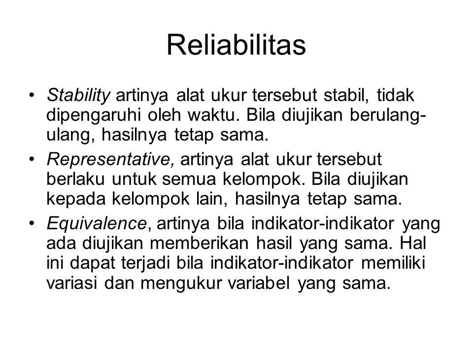 Reliabilitas Stability artinya alat ukur tersebut stabil, tidak dipengaruhi oleh waktu. Bila diujikan berulang-ulang, hasilnya tetap sama.