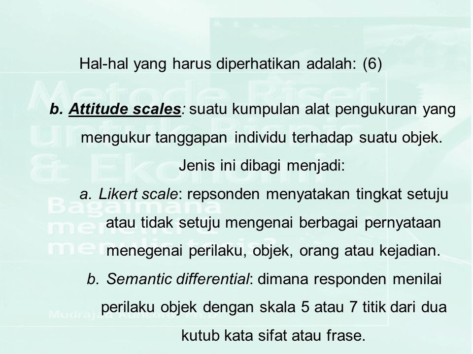 Hal-hal yang harus diperhatikan adalah: (6)