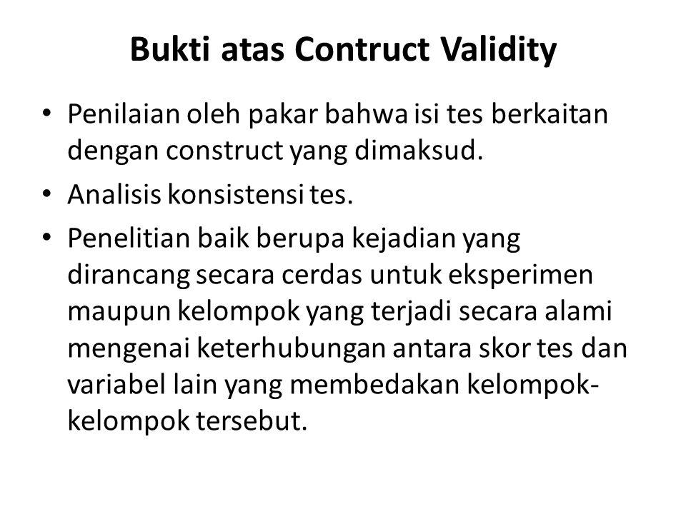 Bukti atas Contruct Validity