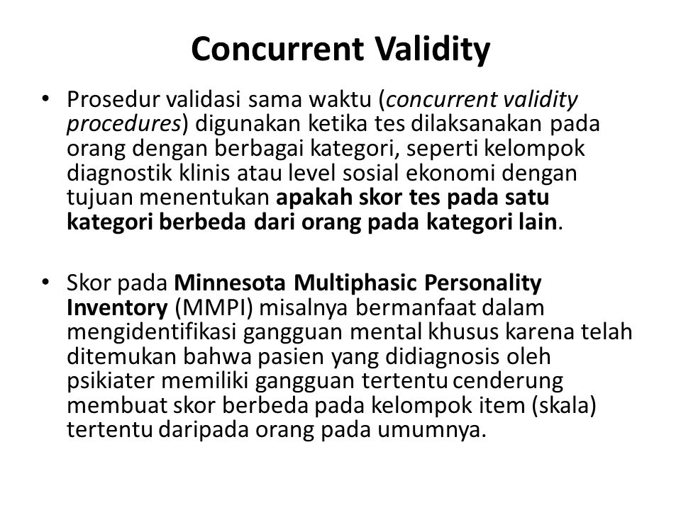 Concurrent Validity