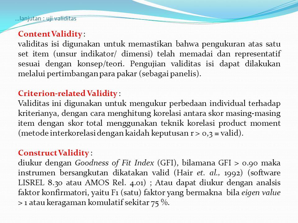 …lanjutan : uji validitas