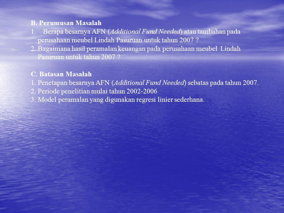 B. Perumusan Masalah Berapa besarnya AFN (Additional Fund Needed) atau tambahan pada. perusahaan meubel Lindah Pasuruan untuk tahun 2007