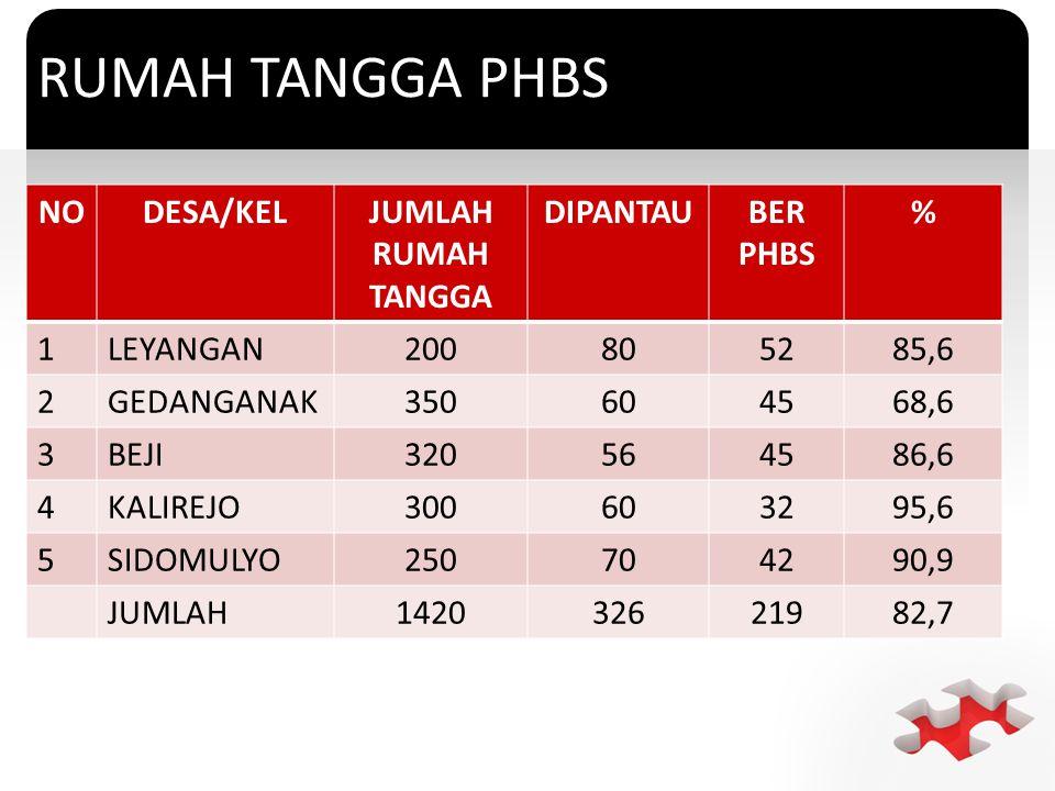 RUMAH TANGGA PHBS NO DESA/KEL JUMLAH RUMAH TANGGA DIPANTAU BER PHBS %
