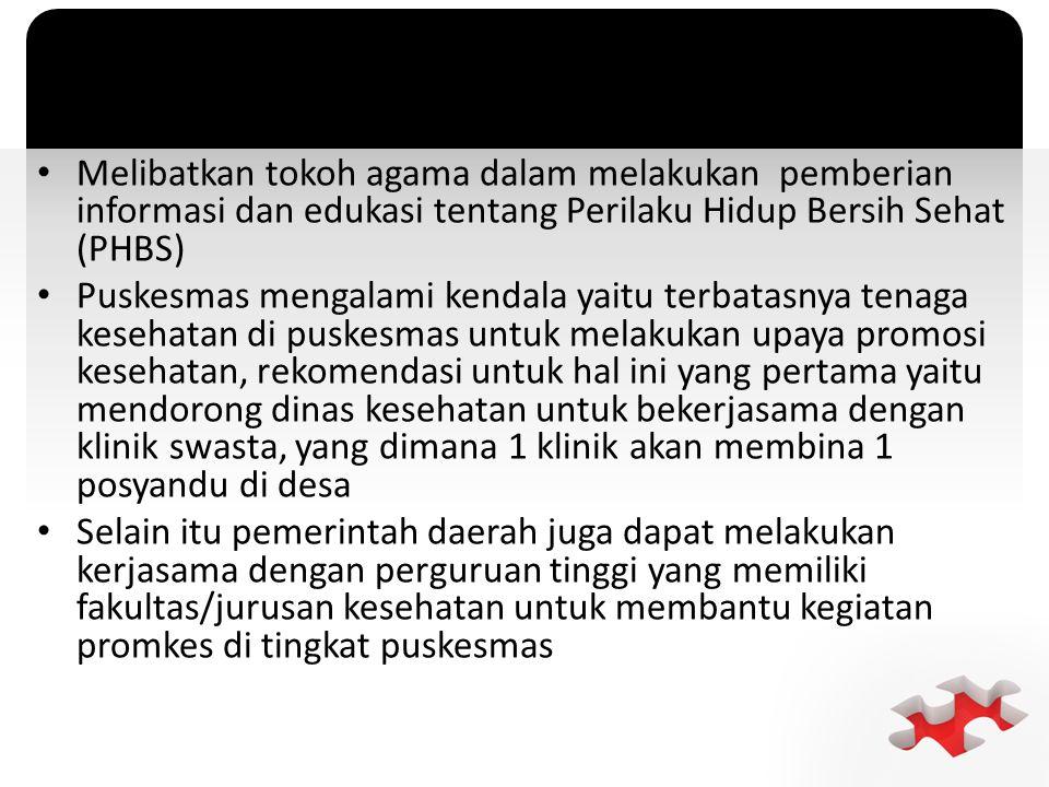 Melibatkan tokoh agama dalam melakukan pemberian informasi dan edukasi tentang Perilaku Hidup Bersih Sehat (PHBS)