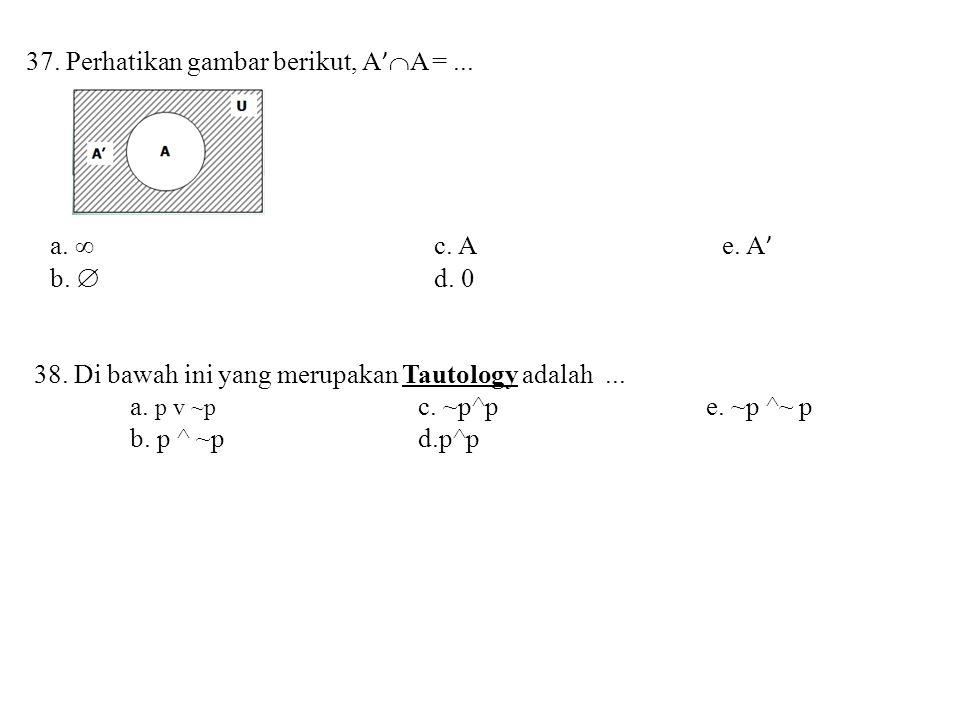 37. Perhatikan gambar berikut, A'A = ...