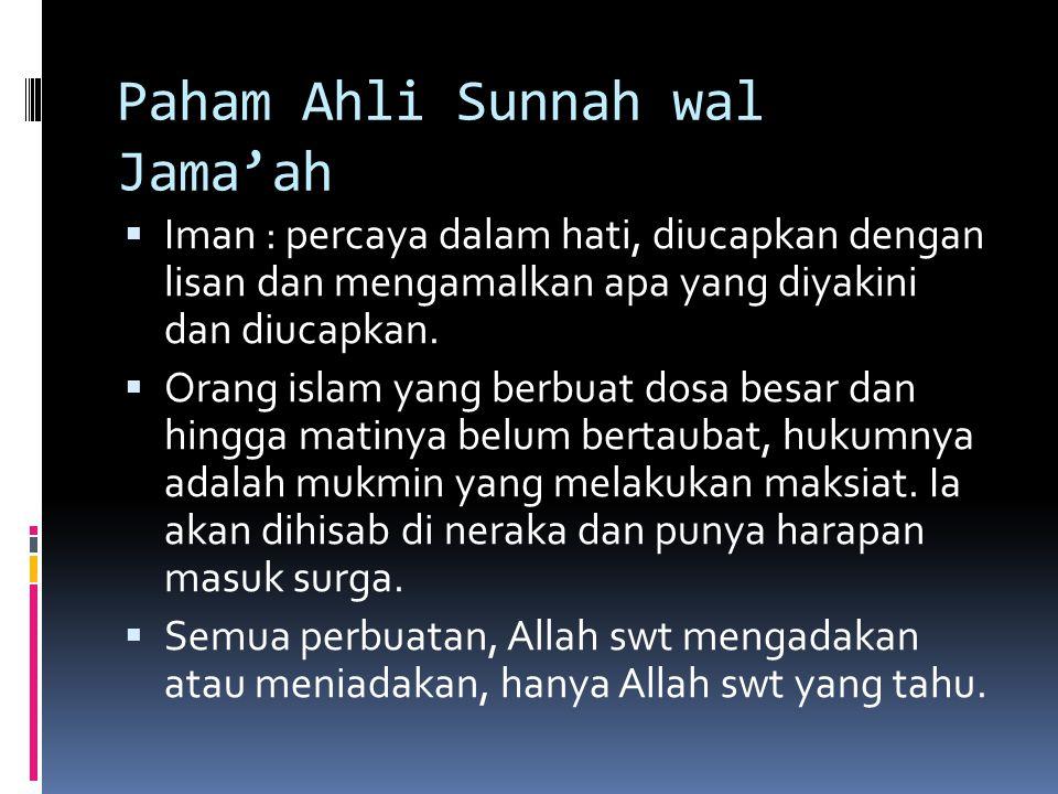 Paham Ahli Sunnah wal Jama'ah