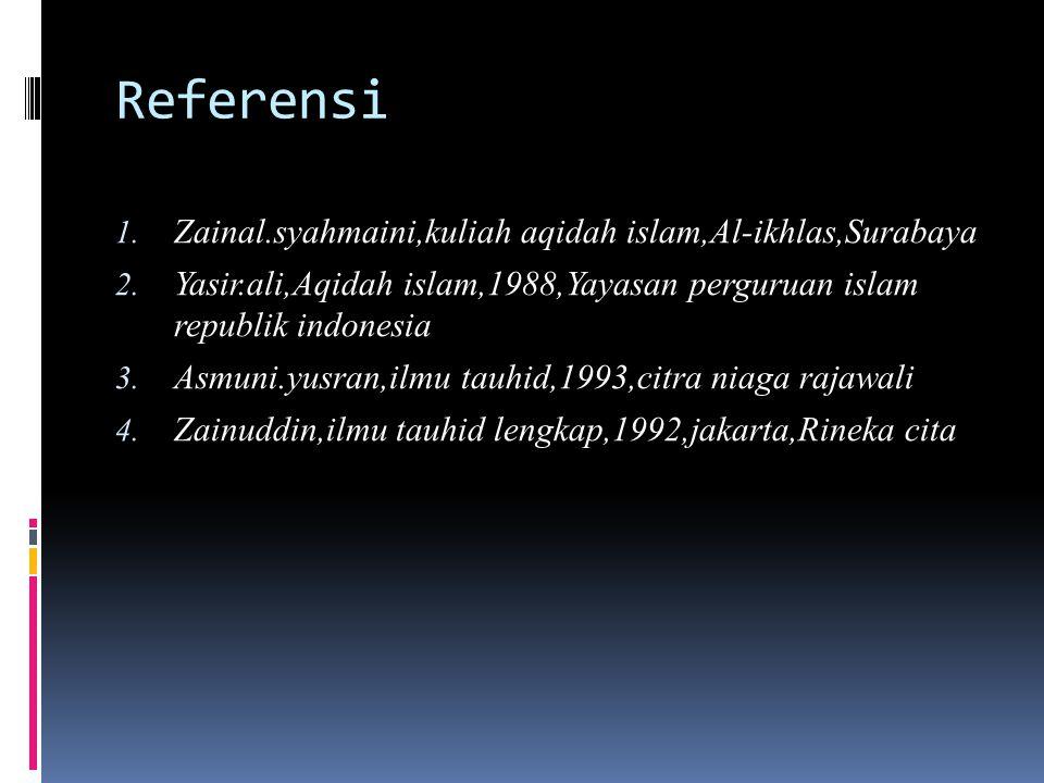 Referensi Zainal.syahmaini,kuliah aqidah islam,Al-ikhlas,Surabaya