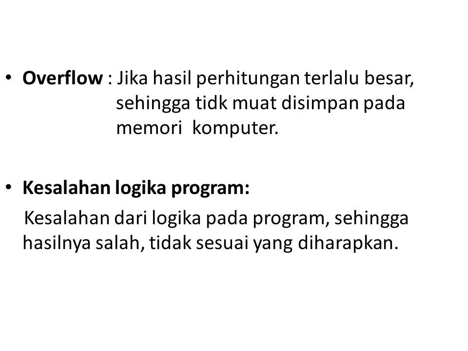 Overflow : Jika hasil perhitungan terlalu besar,