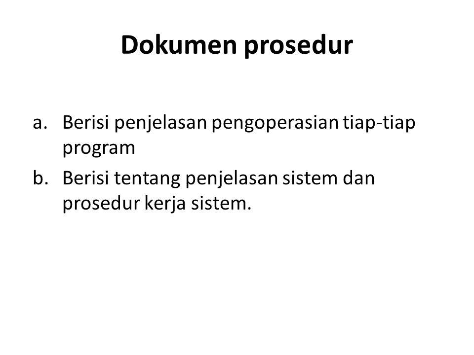 Dokumen prosedur Berisi penjelasan pengoperasian tiap-tiap program
