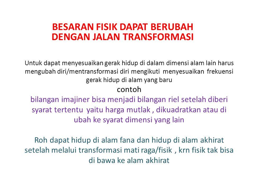 BESARAN FISIK DAPAT BERUBAH DENGAN JALAN TRANSFORMASI