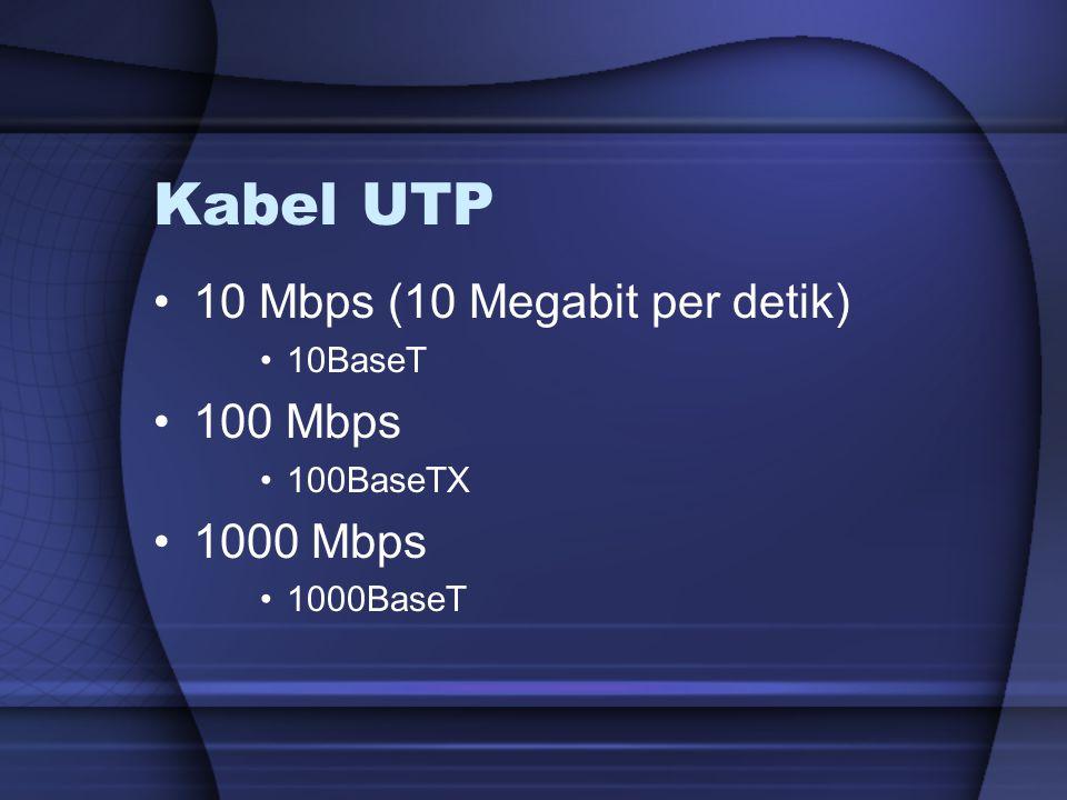 Kabel UTP 10 Mbps (10 Megabit per detik) 100 Mbps 1000 Mbps 10BaseT