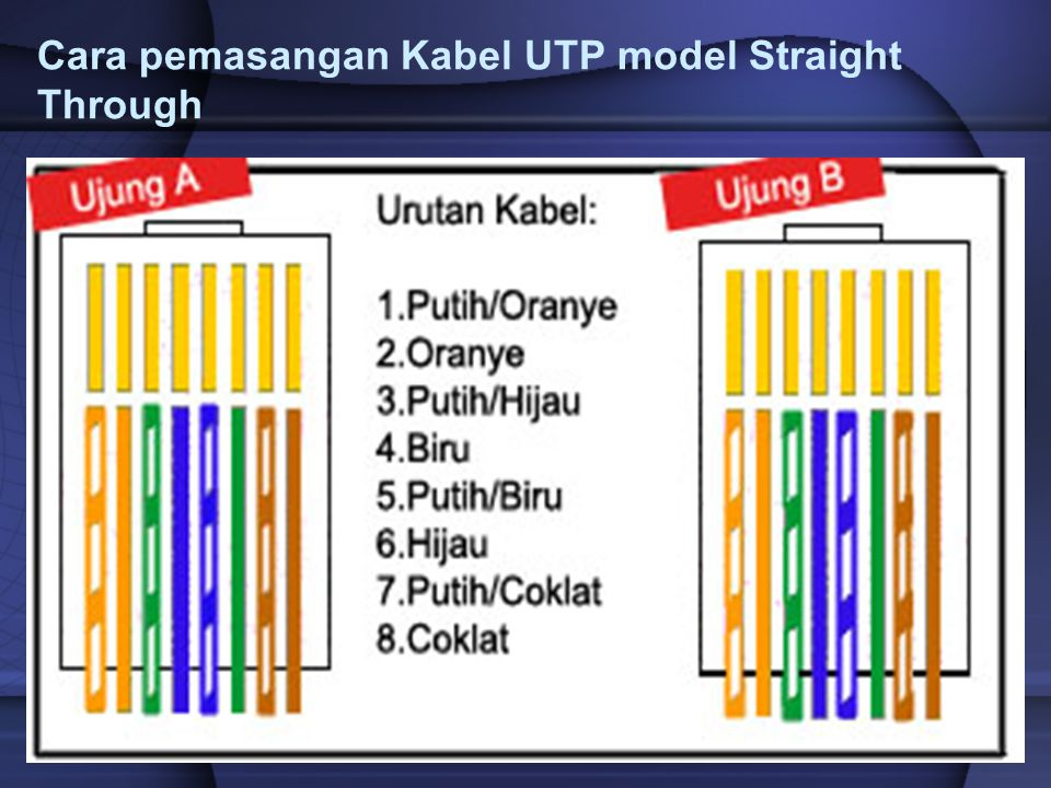 Cara pemasangan Kabel UTP model Straight Through