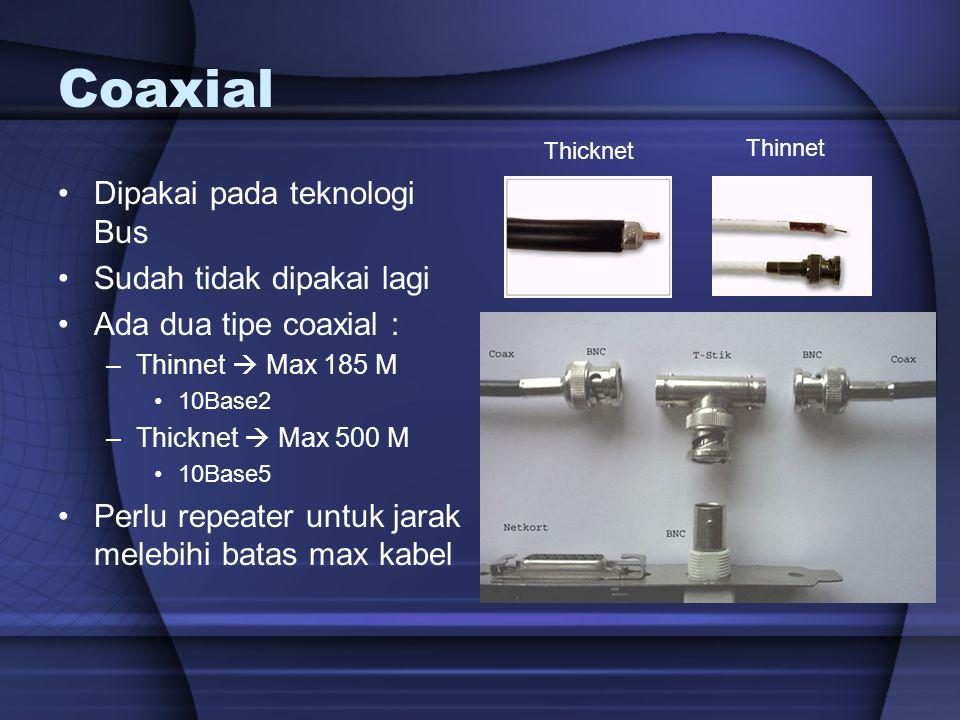Coaxial Dipakai pada teknologi Bus Sudah tidak dipakai lagi