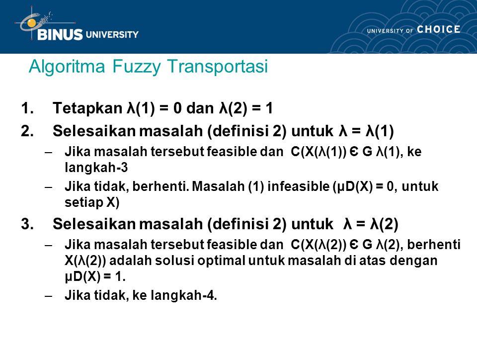Algoritma Fuzzy Transportasi