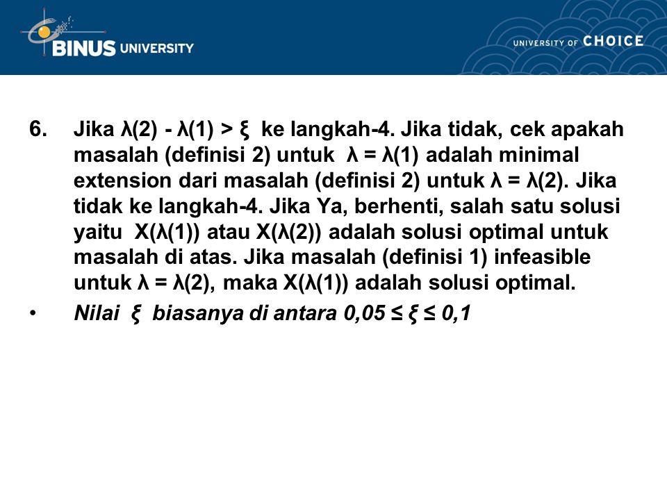 6. Jika λ(2) - λ(1) > ξ ke langkah-4