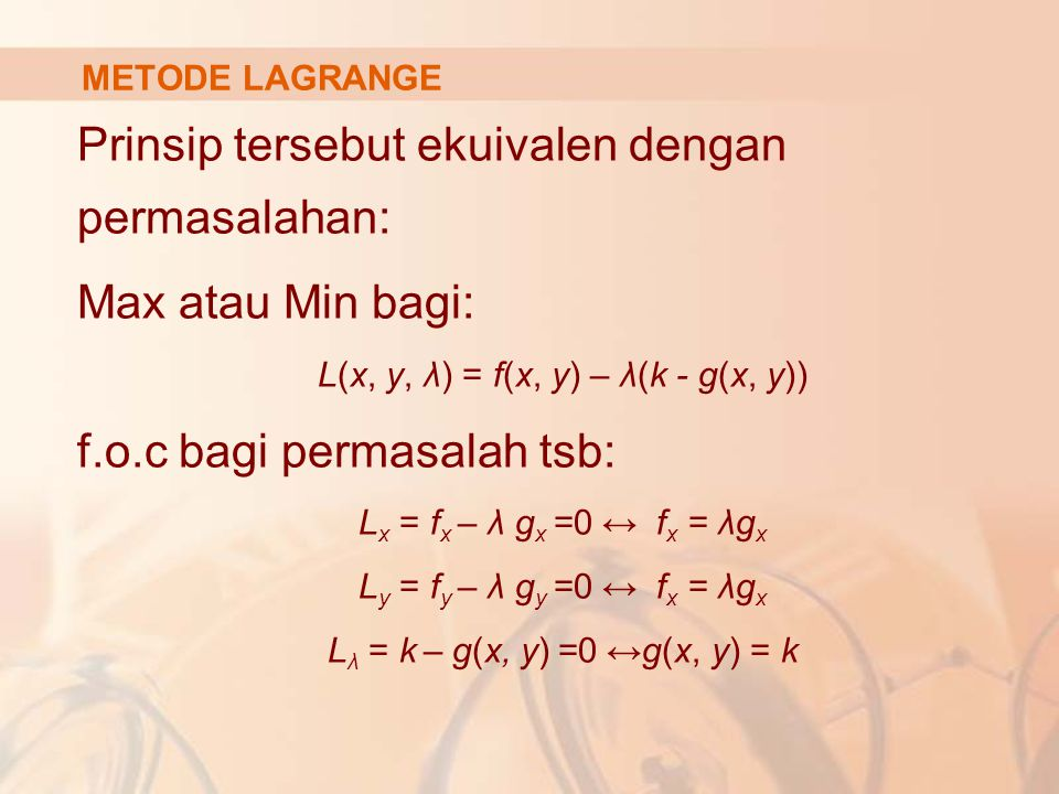 L(x, y, λ) = f(x, y) – λ(k - g(x, y))