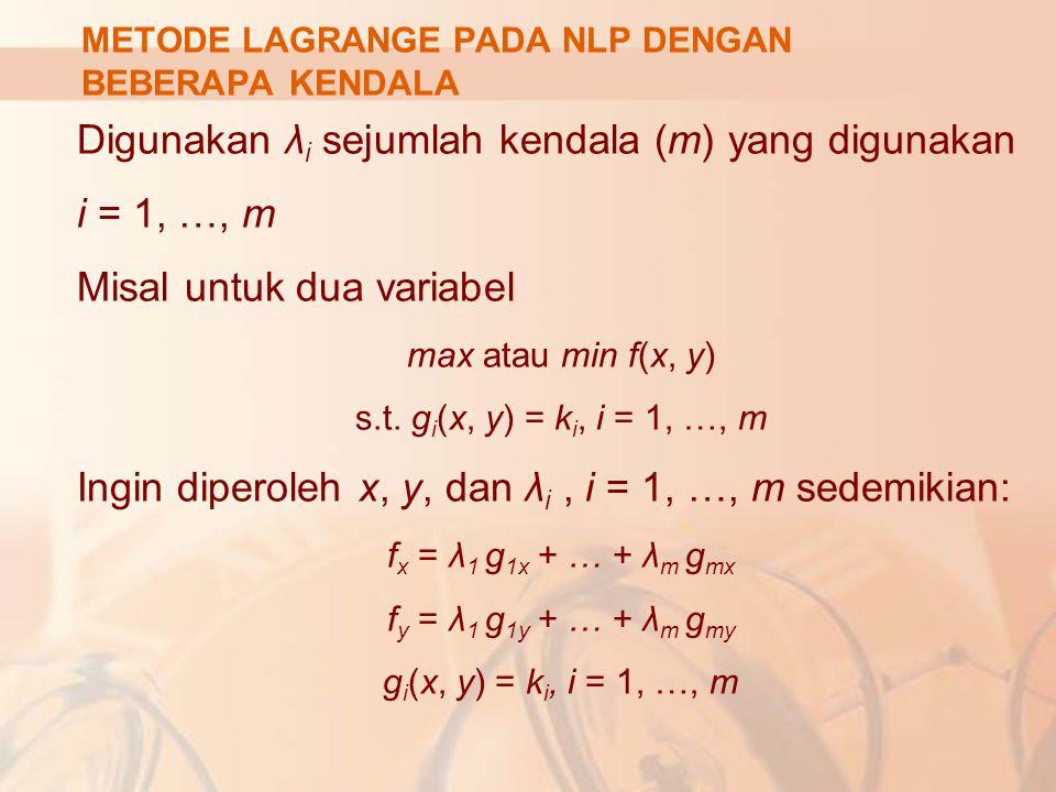 Digunakan λi sejumlah kendala (m) yang digunakan i = 1, …, m