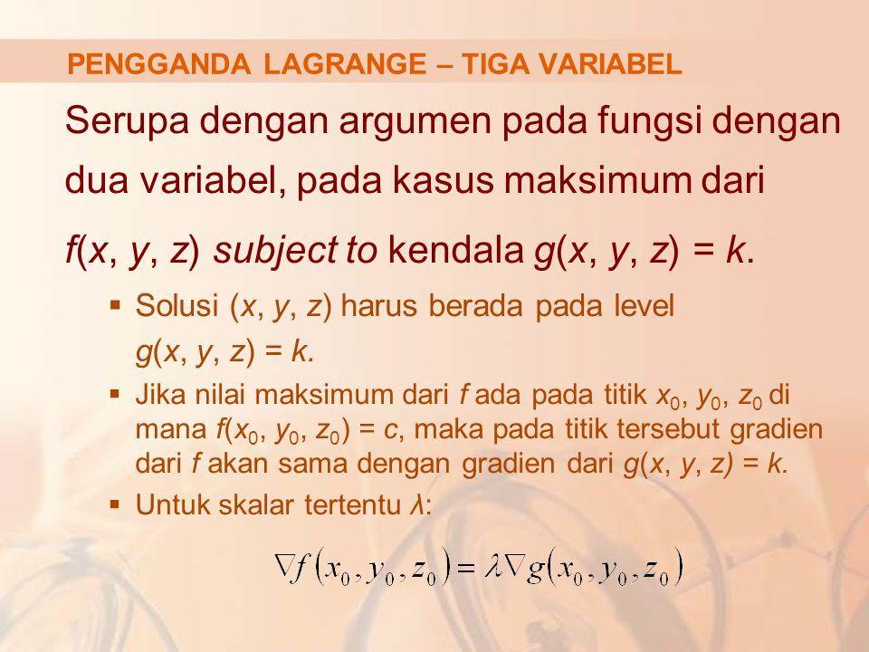 PENGGANDA LAGRANGE – TIGA VARIABEL