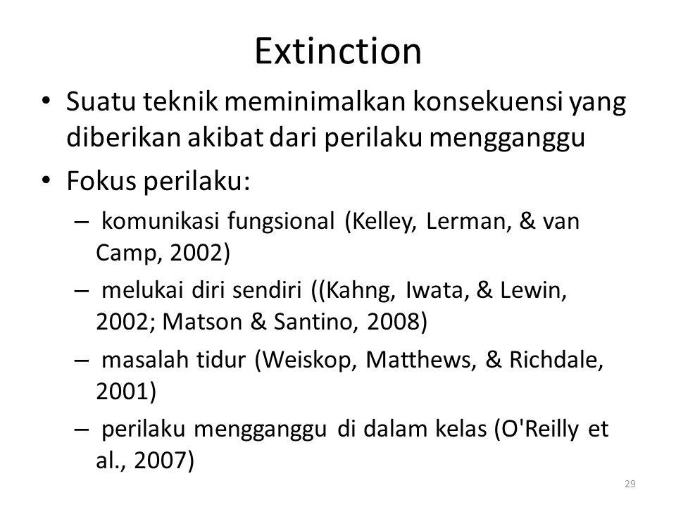 Extinction Suatu teknik meminimalkan konsekuensi yang diberikan akibat dari perilaku mengganggu. Fokus perilaku: