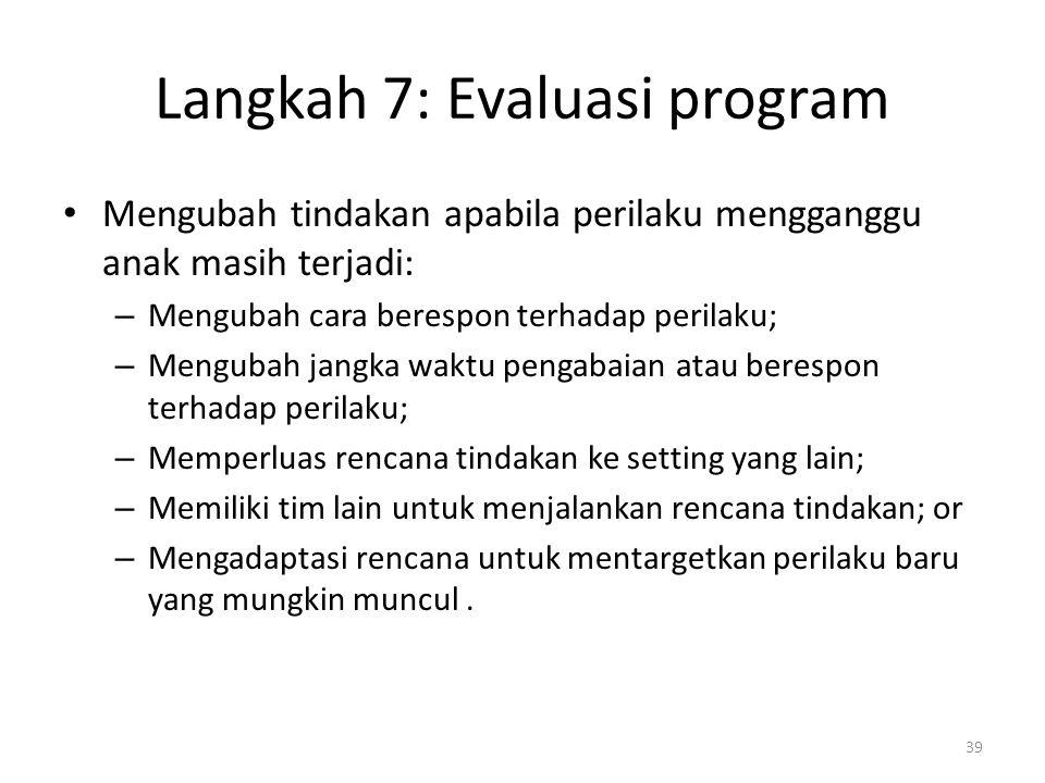 Langkah 7: Evaluasi program