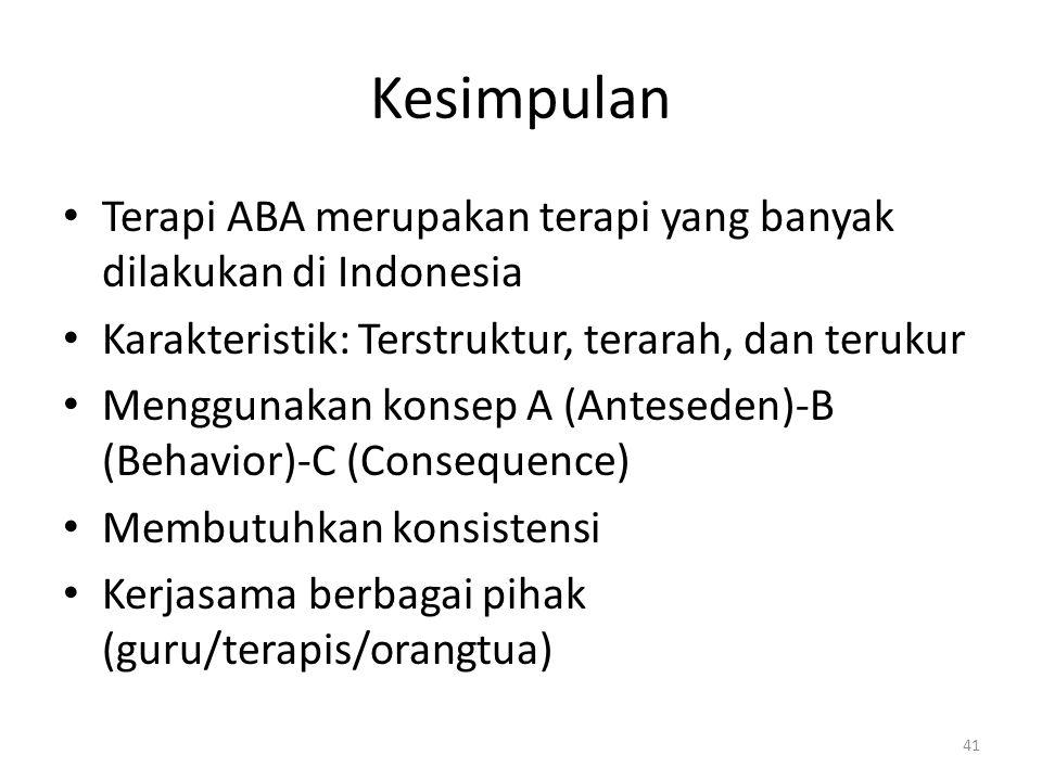 Kesimpulan Terapi ABA merupakan terapi yang banyak dilakukan di Indonesia. Karakteristik: Terstruktur, terarah, dan terukur.