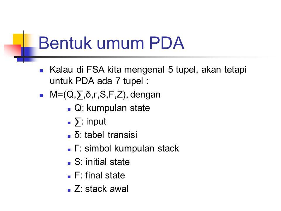 Bentuk umum PDA Kalau di FSA kita mengenal 5 tupel, akan tetapi untuk PDA ada 7 tupel : M=(Q,∑,δ,г,S,F,Z), dengan.
