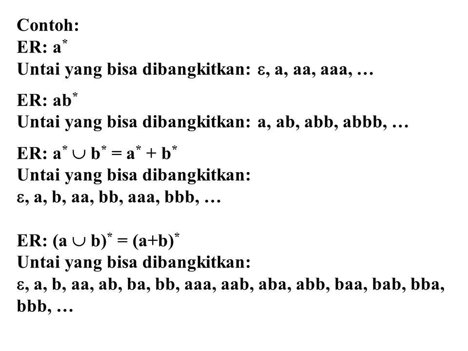 Contoh: ER: a* Untai yang bisa dibangkitkan: , a, aa, aaa, … ER: ab* Untai yang bisa dibangkitkan: a, ab, abb, abbb, …