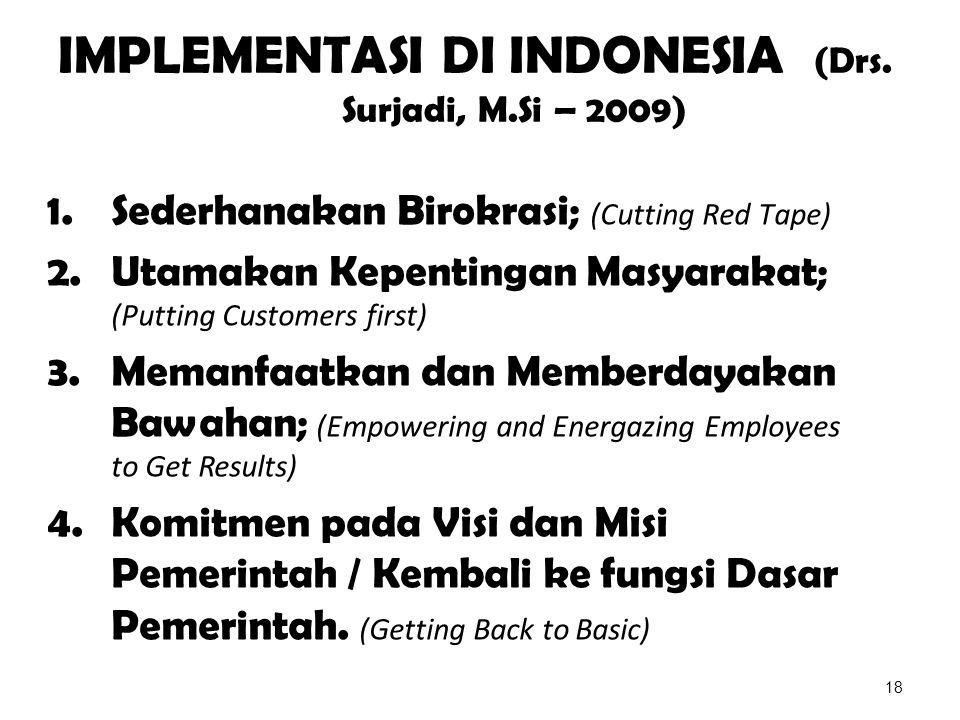 IMPLEMENTASI DI INDONESIA (Drs. Surjadi, M.Si – 2009)