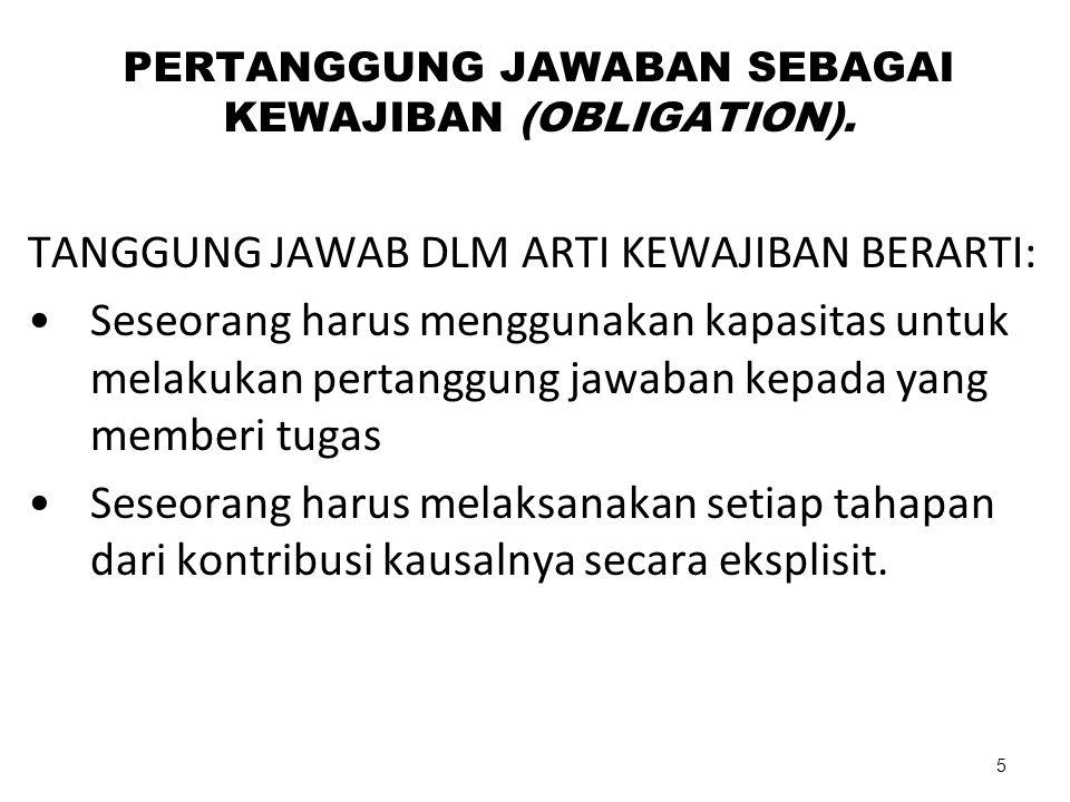 PERTANGGUNG JAWABAN SEBAGAI KEWAJIBAN (OBLIGATION).