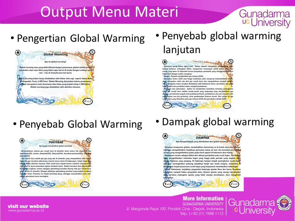 Output Menu Materi Penyebab global warming Pengertian Global Warming