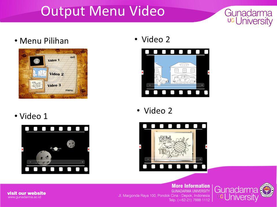 Output Menu Video Menu Pilihan Video 1 Video 2 Video 2