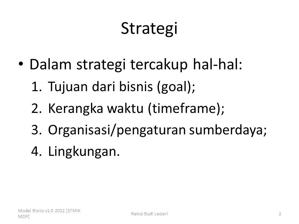 Strategi Dalam strategi tercakup hal-hal: Tujuan dari bisnis (goal);