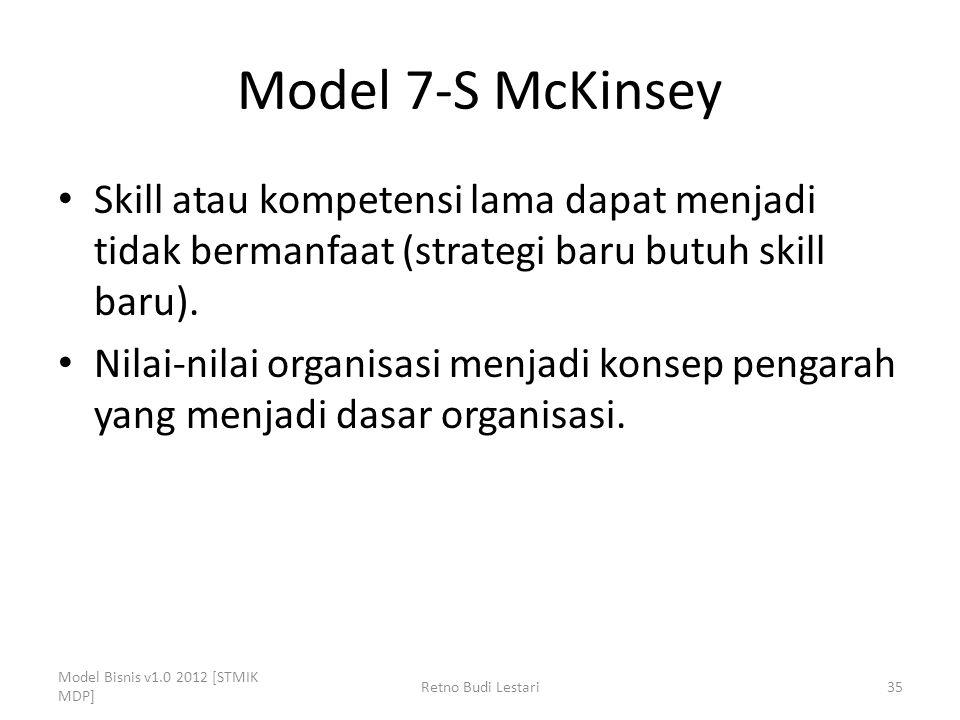 Model 7-S McKinsey Skill atau kompetensi lama dapat menjadi tidak bermanfaat (strategi baru butuh skill baru).