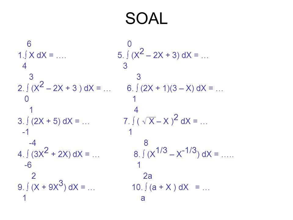 SOAL 6 0 1.∫ X dX = …. 5. ∫ (X2 – 2X + 3) dX = … 4 3 3 3