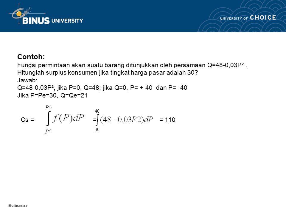 Contoh: Fungsi permintaan akan suatu barang ditunjukkan oleh persamaan Q=48-0,03P² . Hitunglah surplus konsumen jika tingkat harga pasar adalah 30 Jawab: Q=48-0,03P², jika P=0, Q=48; jika Q=0, P= + 40 dan P= -40 Jika P=Pe=30, Q=Qe=21