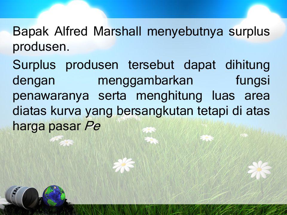 Bapak Alfred Marshall menyebutnya surplus produsen
