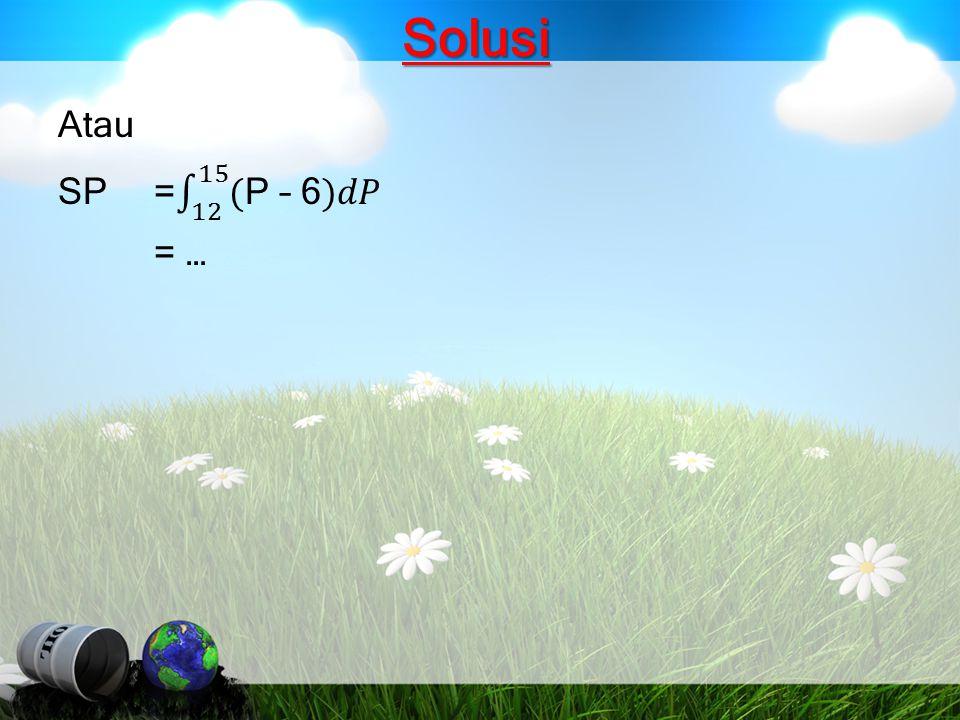 Solusi Atau SP = 12 15 (P – 6)𝑑𝑃 = …