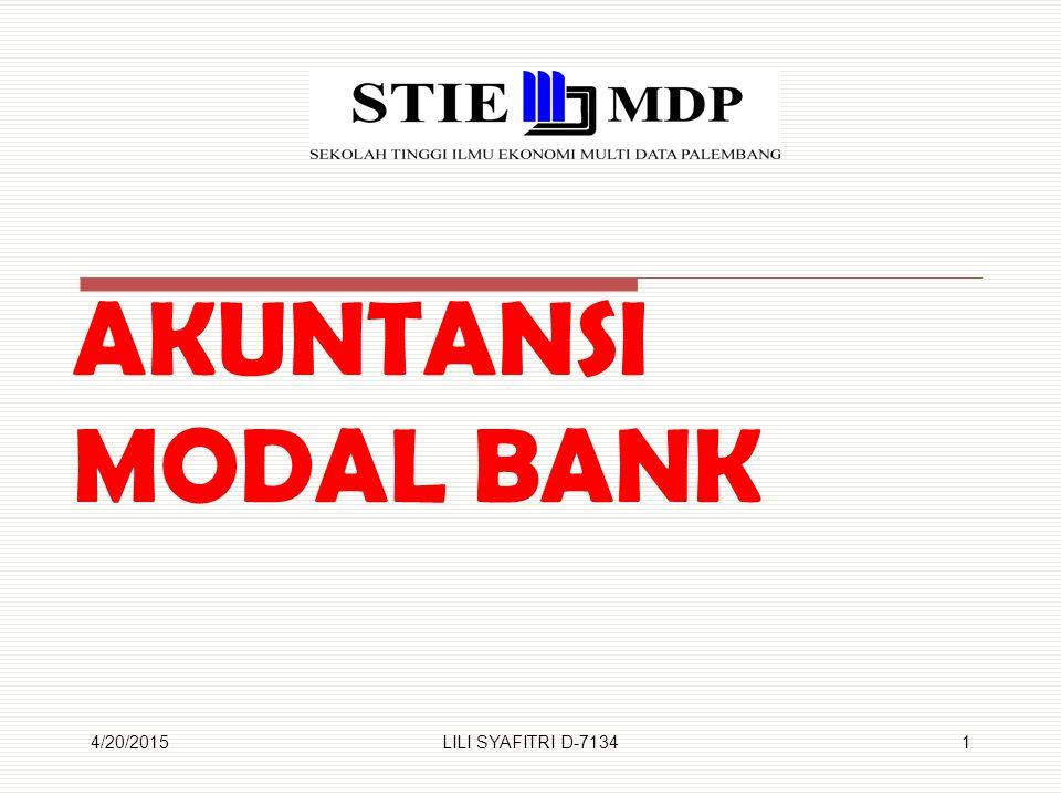AKUNTANSI MODAL BANK 4/13/2017 LILI SYAFITRI D-7134