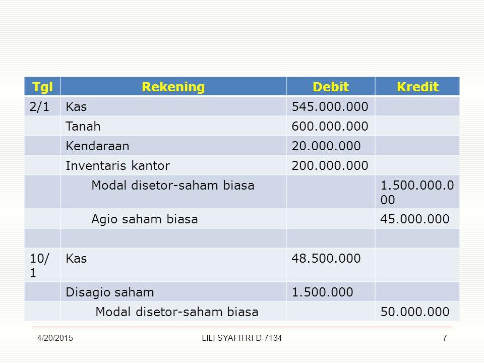 Tgl Rekening Debit Kredit