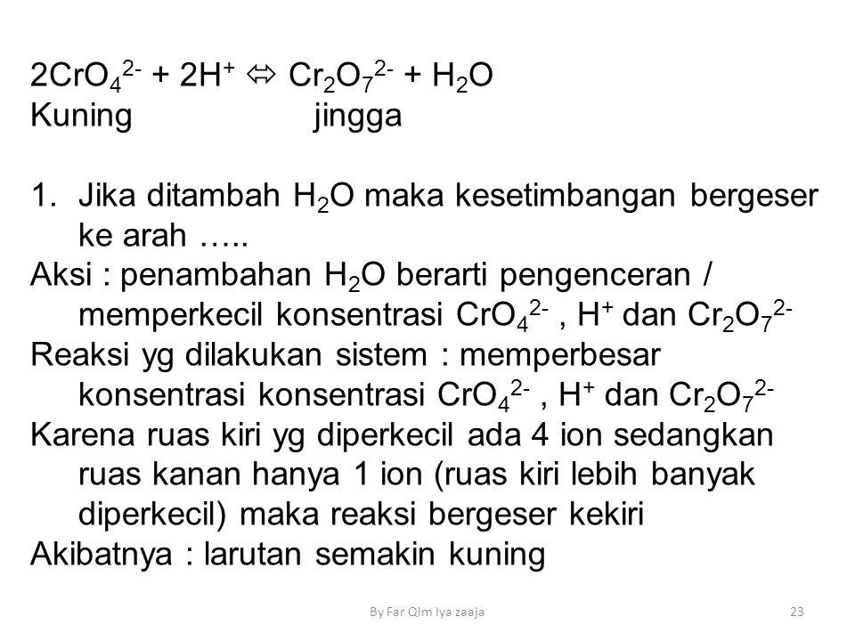 Jika ditambah H2O maka kesetimbangan bergeser ke arah …..