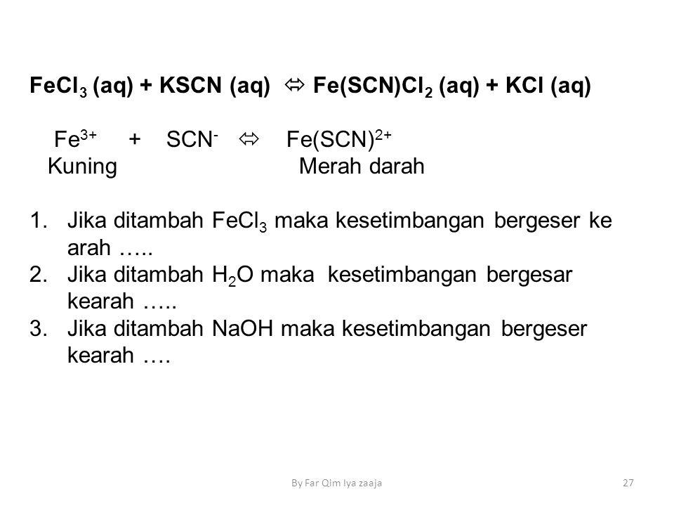 FeCl3 (aq) + KSCN (aq)  Fe(SCN)Cl2 (aq) + KCl (aq)