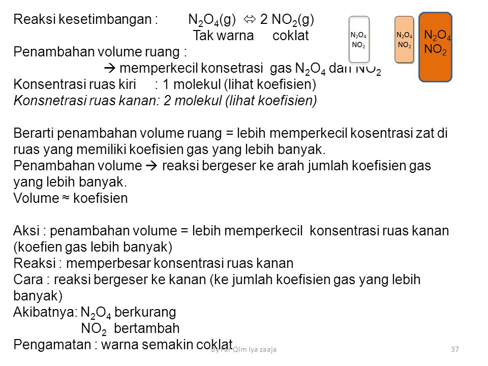 Reaksi kesetimbangan : N2O4(g)  2 NO2(g) Tak warna coklat