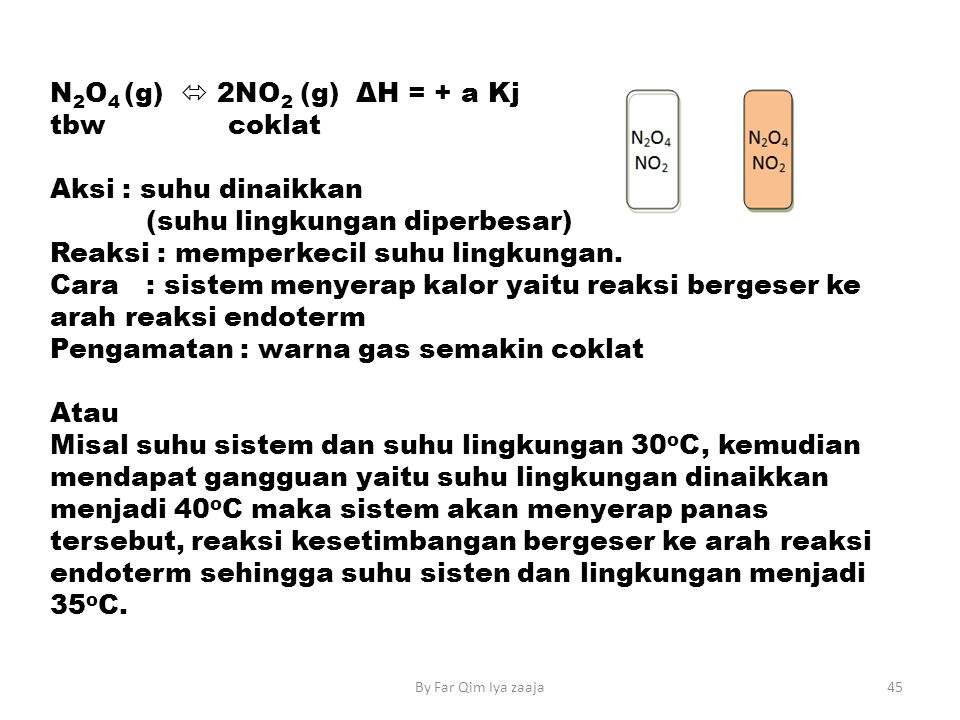 (suhu lingkungan diperbesar) Reaksi : memperkecil suhu lingkungan.