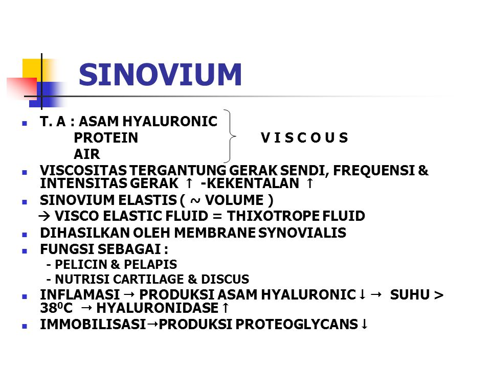 SINOVIUM T. A : ASAM HYALURONIC PROTEIN V I S C O U S AIR