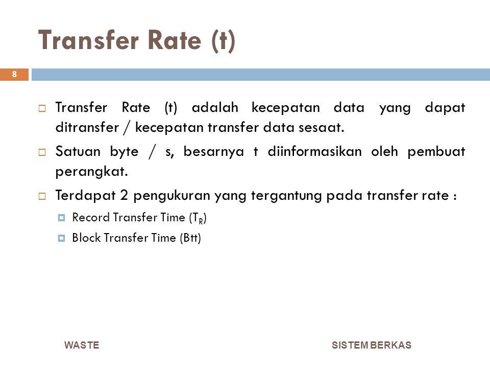 Transfer Rate (t) Transfer Rate (t) adalah kecepatan data yang dapat ditransfer / kecepatan transfer data sesaat.