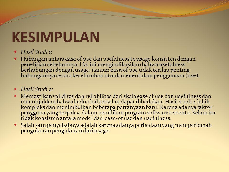 KESIMPULAN Hasil Studi 1: