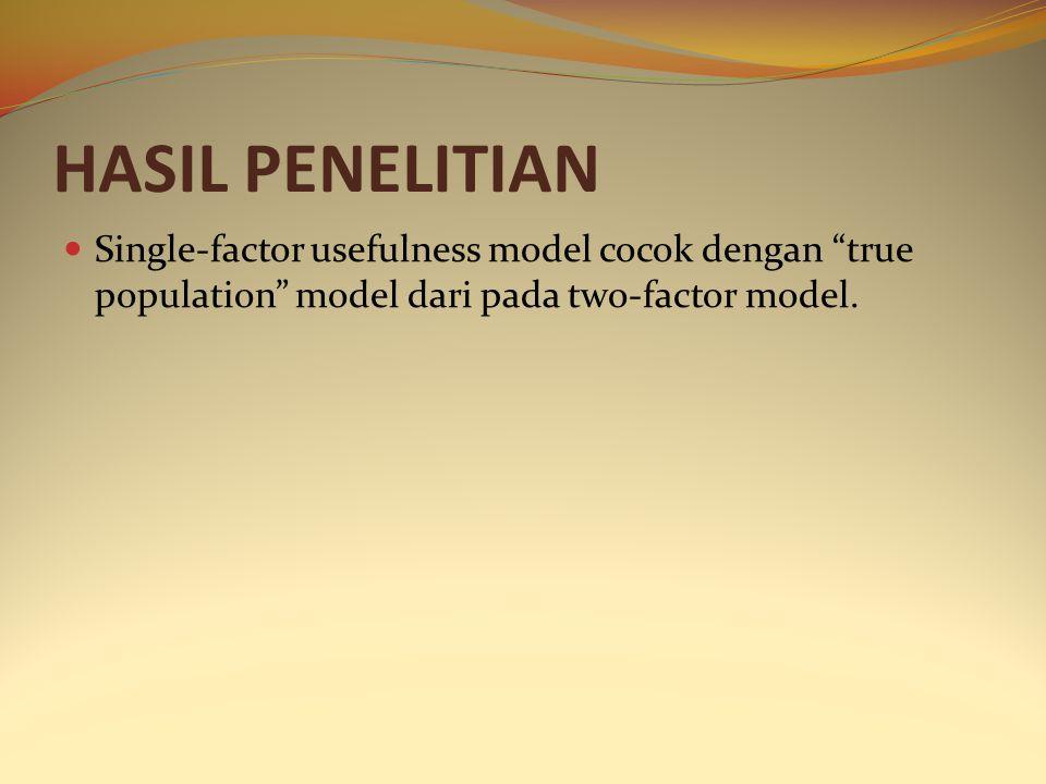HASIL PENELITIAN Single-factor usefulness model cocok dengan true population model dari pada two-factor model.