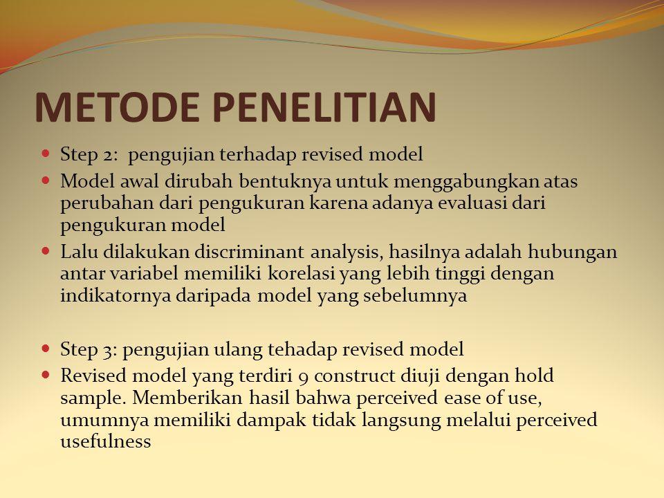 METODE PENELITIAN Step 2: pengujian terhadap revised model