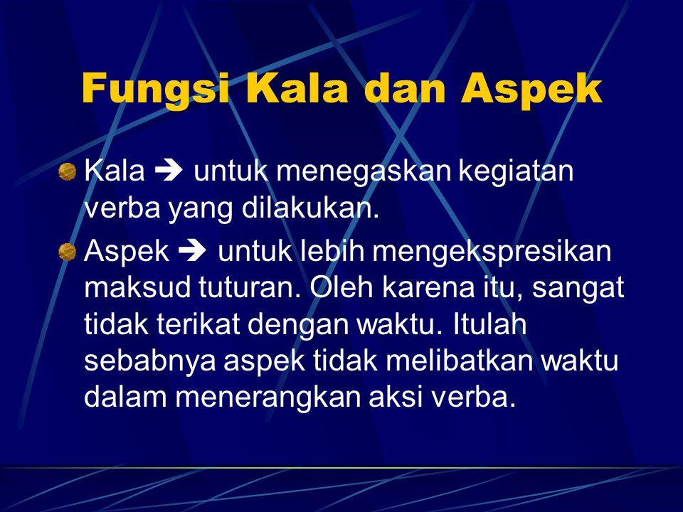 Fungsi Kala dan Aspek Kala  untuk menegaskan kegiatan verba yang dilakukan.
