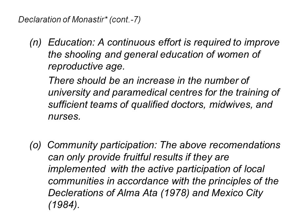 Declaration of Monastir* (cont.-7)
